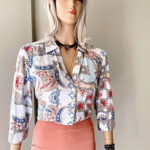 Chico's Textured Damask Print Button Down Shirt